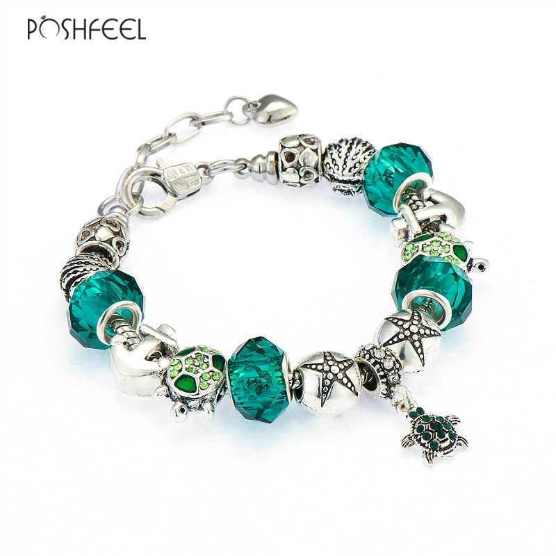 Poshfeel Diy Summer Armbånd Shell / Turtle / Anchor Charm Armbånd For Women Green Crystal Beads Berømte Brand Smykker Mbr170197
