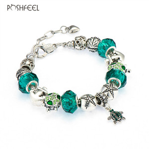 Poshfeel Diy Summer Bracelet Shell/Turtle/Anchor Charm Bracelets For Women Green Crystal Beads Famous Brand Jewelry Mbr170197