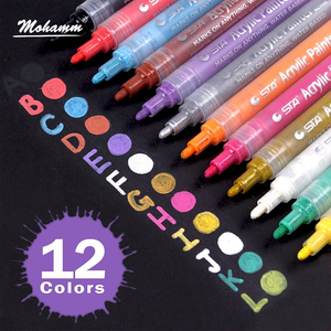 Image 2 - 12 24 Colors/Set STA Acrylic Permanent Paint Marker pen for Ceramic Rock Glass Porcelain Mug Wood Fabric Canvas Painting