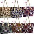 Women Beach Canvas Bag Flower Printing Handbags Ladies Large Shoulder Bags Casual Shopping Totes BS88