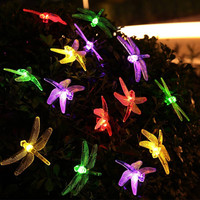 5M 20LED Solar Hard Dragonfly Shape Copper Light String Cotton Thread Christmas Wedding Party Decoration Enfeites