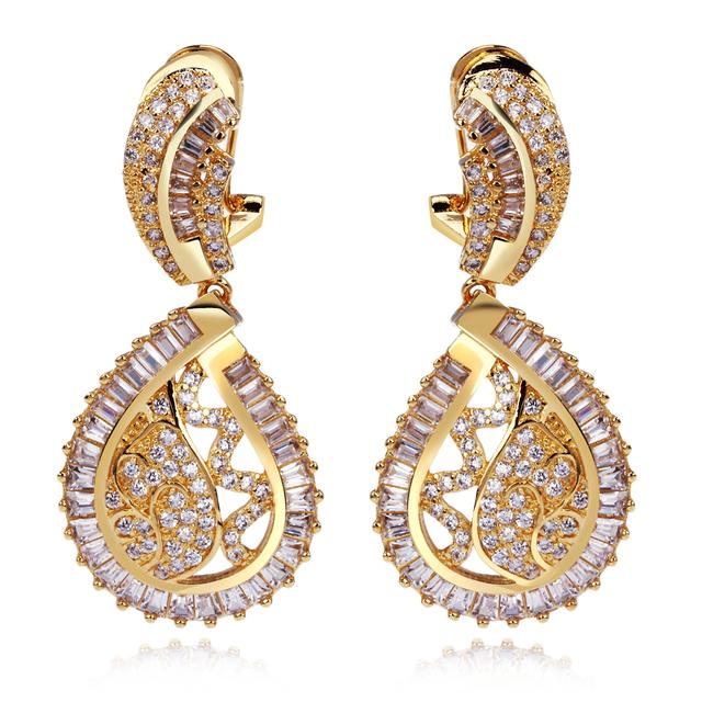 Pendientes de gota para para Cubic zircon pendiente con el oro plateó la joyería moda para la boda alta calidad envío gratuito