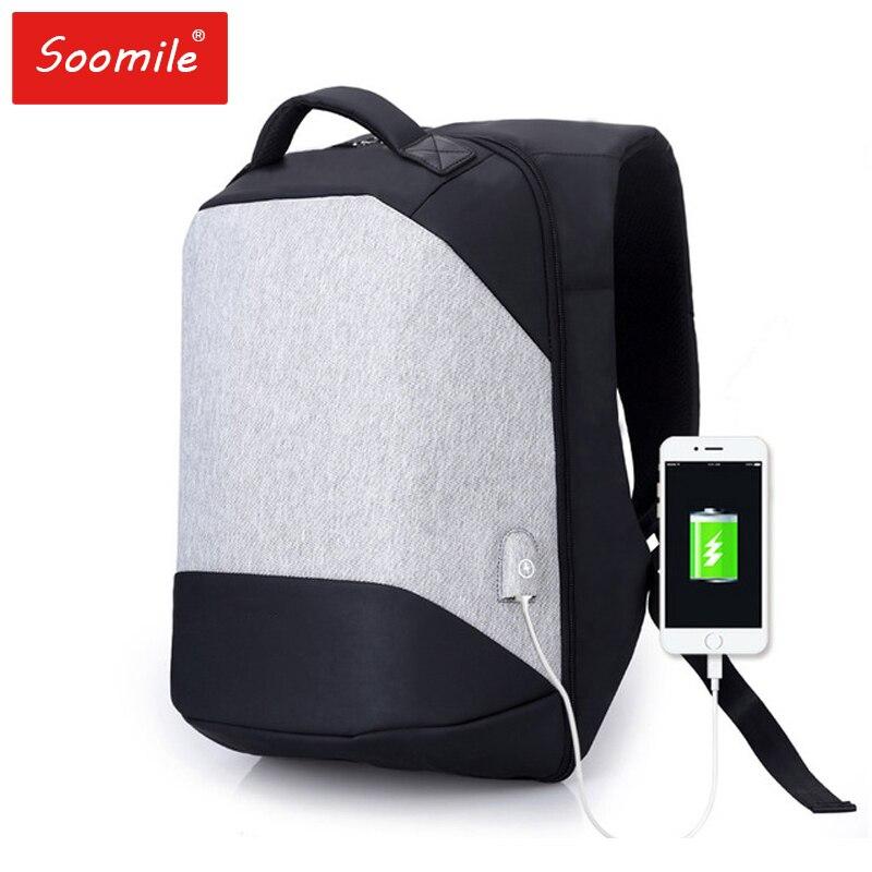 Бренд для мужчин рюкзаки 15,6 Anti Theft зарядка через Usb дизайн ноутбук рюкзак студент мальчик школы подростков NotebookTravel сумка reeyee