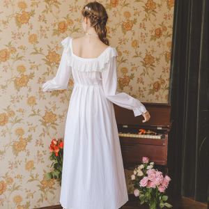 Image 5 - Cotton Nightgowns Sleepshirt Long Dress Spring Nightwear Long Sleeve Sleepwear Princess Women Vintage Nightgown Pregnant Woman