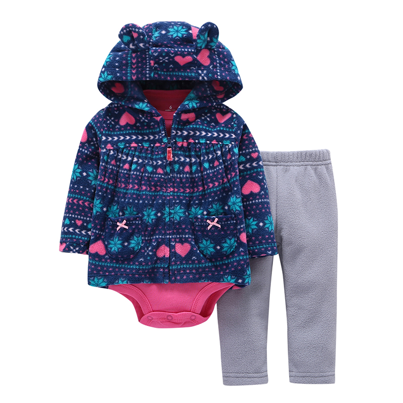 Newborn Baby boy Girls Clothes set Hooded long Sleeve Coat floral Bodysuits Pants autumn winter infant