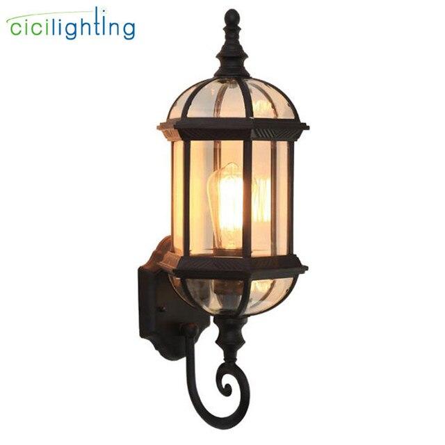 Luz de pared al aire libre, lámpara de pared del porche de la puerta delantera impermeable, aplique del hogar Decoración interior iluminación lámpara patio jardín