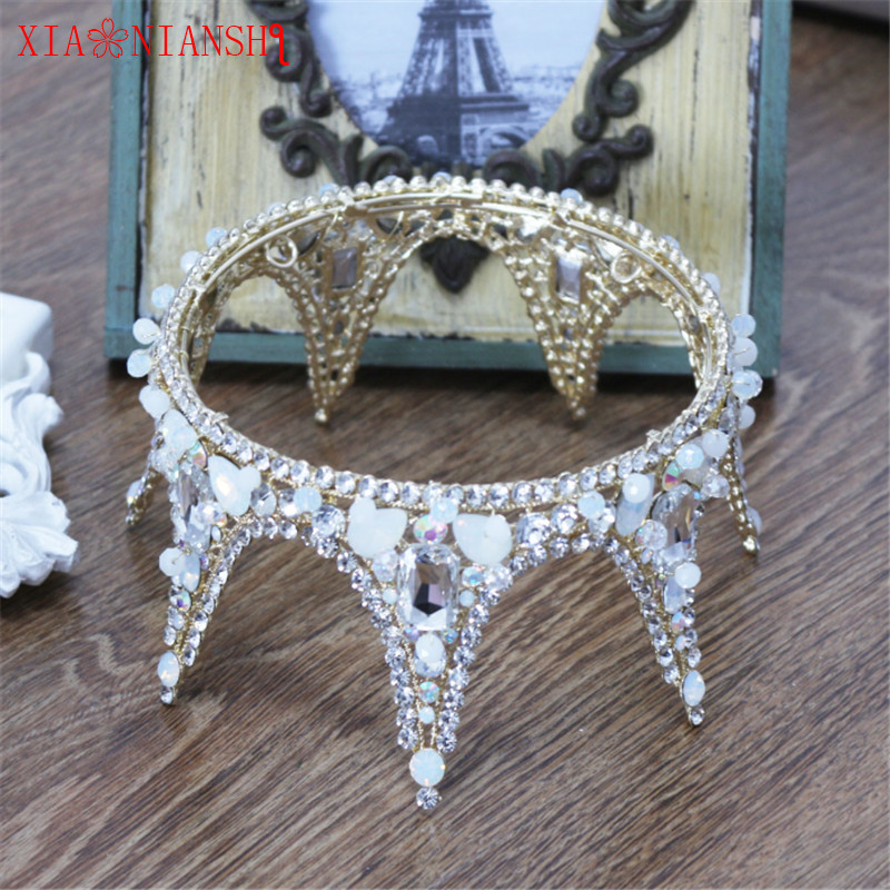 XIAONIANSHI New Baroque Retro Luxury Pearl Crystal Gold Crown Bridal Wedding Jewelry Rhinestone Tiaras Crowns Hair Accessories new hot pink freshwater pearl crystal handmade clear rhinestone beaded wedding accessories hair crown tiaras golden jewelry
