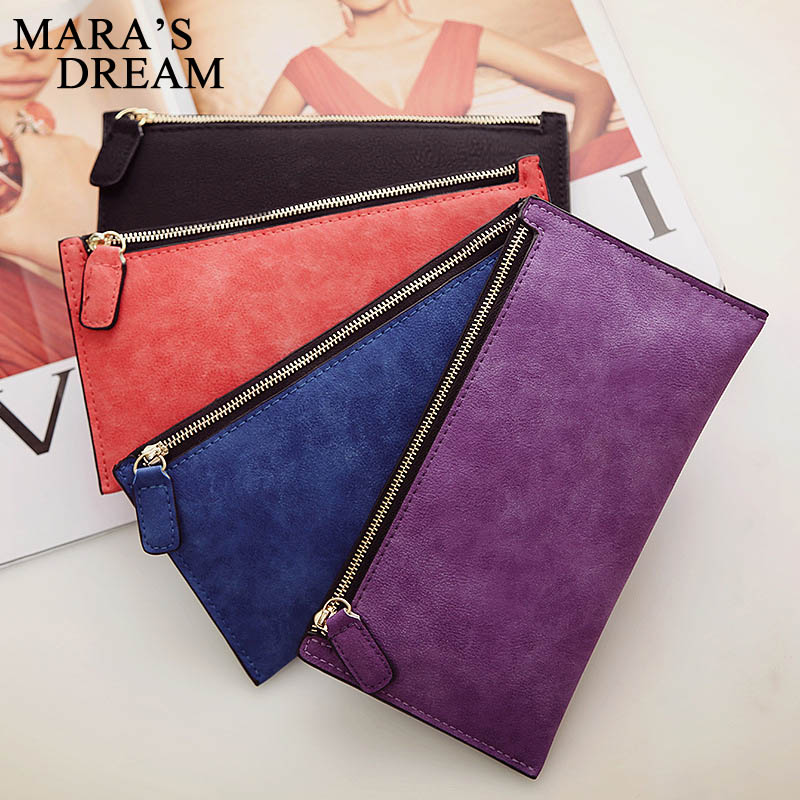 Mara's Dream Women's Purse Ladies Wallet Long Money Bags Simple Style Coin Purse Leather Thin Wallets Female Card Holder Solid