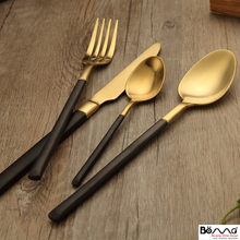 Grade 304 stainless steel cutlery fork spoon Retro Black Gold Plated Western-style food