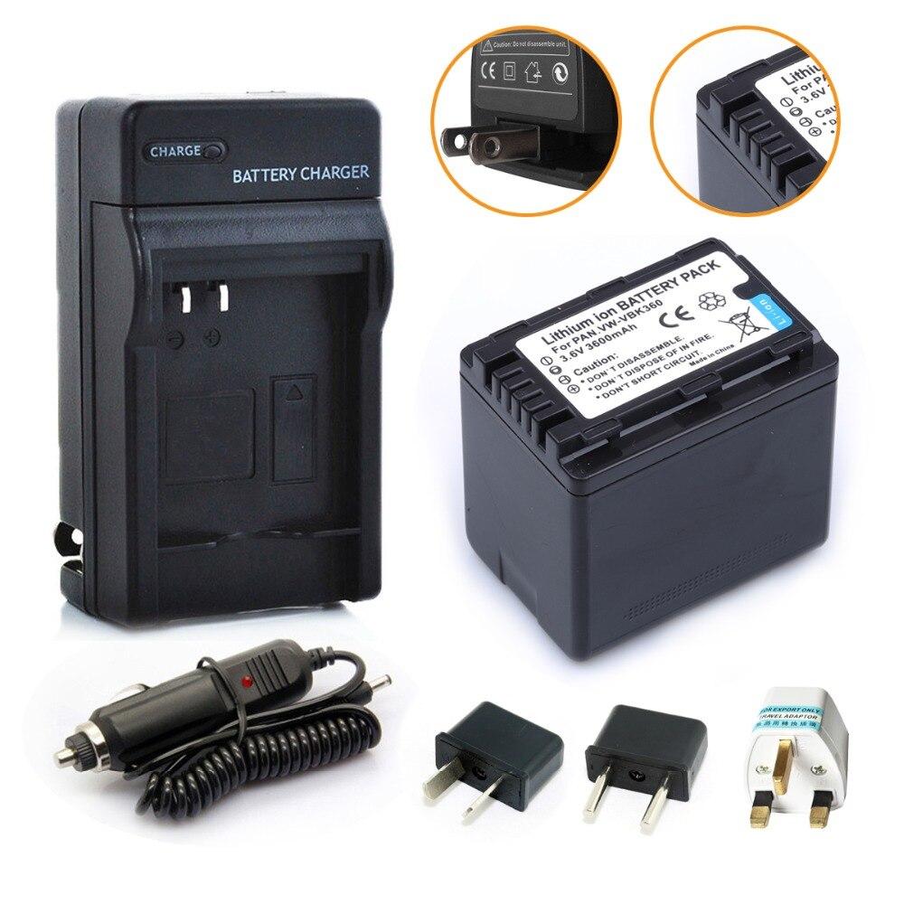VW-VBK360 VBK360 batería recargable + cargador para Panasonic HDC-TM40 HDC-TM41 HDC-TM55 HDC-TM60 HDC-TM80 HDC-TM90 SD40 Cámara