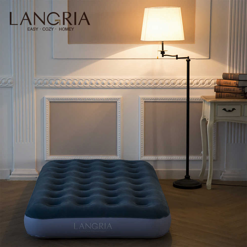 LANGRIA Flocked Airbed Inflatable Mattress Cushion Pad Outdoor Tent Camping Mats Double Inflatable Bed Mattress 18-In High Home