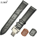Watch Band Fashion Genuine Leather 18mm 20mm 22mm 24mm Black Alligator Grain Thin Brown Bracelet Strap Stainless Steel Buckle