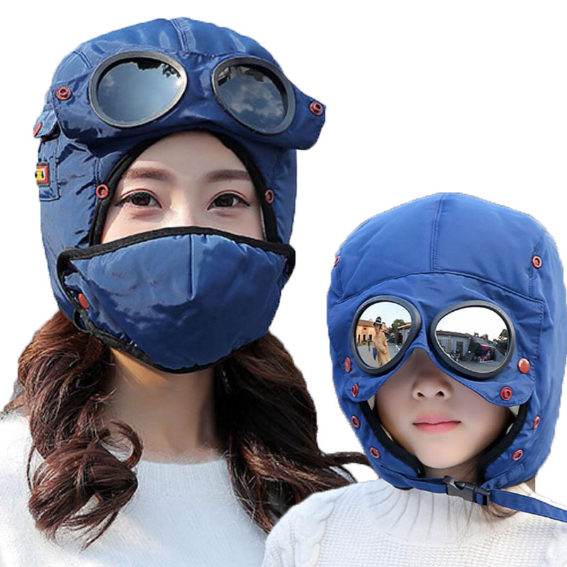 Bomber Hats Women Men Child Winter Windproof Ski Cap With Ear Flaps And Mask Pilot Goggles Warm Aviator Hats Trooper Trapper Cap
