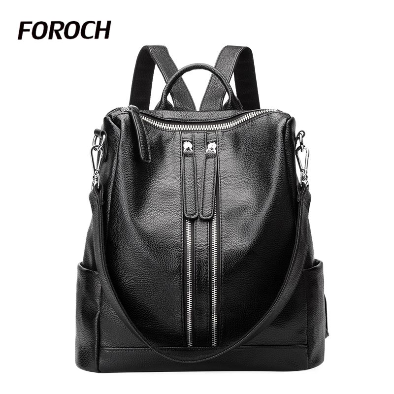 FOROCH 2017 Women Backpack Genuine Cow Leather Backpacks for Teenage Girls Female School Shoulder Bag Preppy Bagpack mochila 6 vintage tassel women backpack nubuck pu leather backpacks for teenage girls female school shoulder bags bagpack mochila escolar