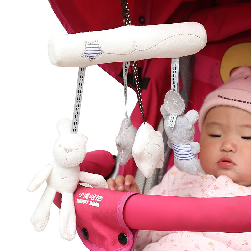 Baby Toys Rabbit Baby Music Hanging Baby Rattles Seat Plush Toy Hand Bell Multifunctional Plush Toy Stroller Baby Gifts B0070