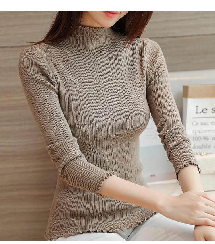 2019 스웨터 여성 슬림 단색 가을, 겨울 긴팔 하프 칼라 여성용 스웨터와 풀오버 vestidos lxj410