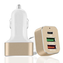 QuTiger New QC 3.0 Quick Car Charger 3 Ports Mobile Phones Chargers Aluminum Alloy Type-C Power Adapter Charging for Smart phone