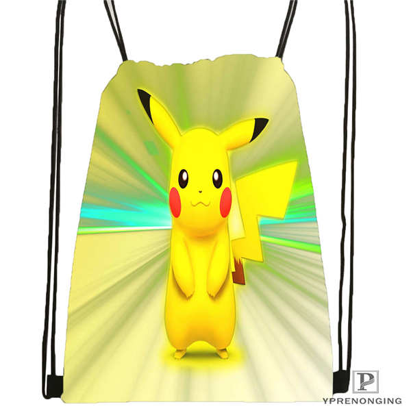 Custom Cartoon-Pokemon-Cute@02- Drawstring Backpack Bag Cute Daypack Kids Satchel (Black Back) 31x40cm#180611-01-24