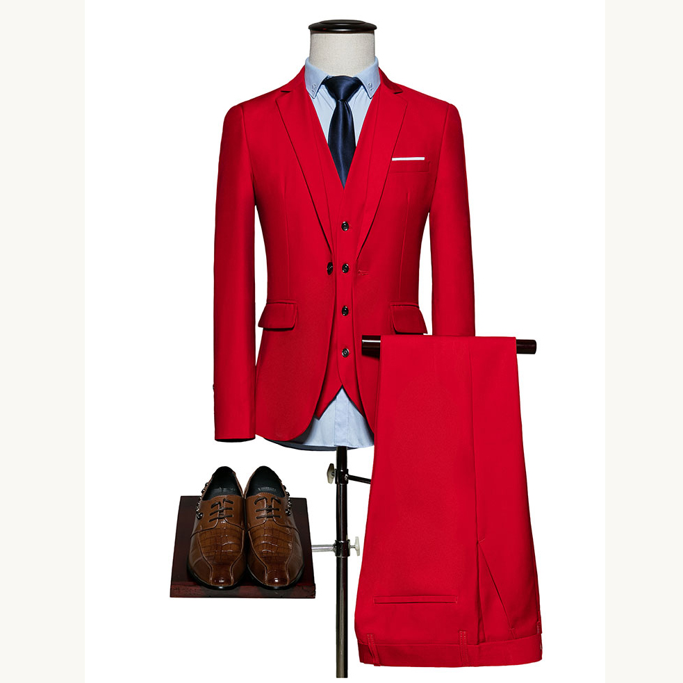 (Jacket+Pant+vest) Men Suit Fashion Male Blazers Slim Fit Suits Men Costume Party Classic Suit Blazers Coat Trousers Waistcoat