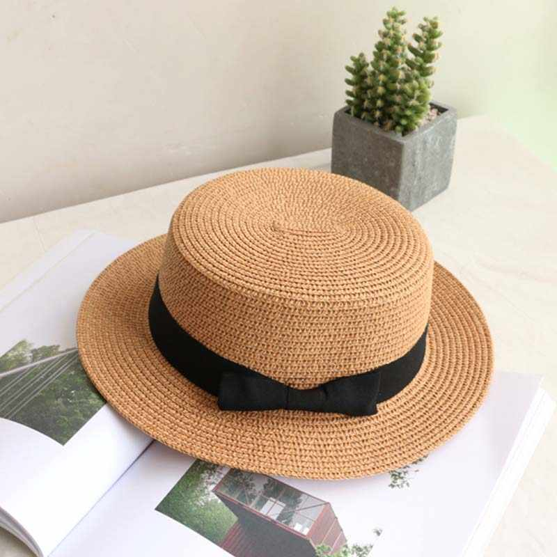 33fbcddfa5a081 ... wholesale 2019 flat bow straw hat girls summer sun Hats For Women Beach  boater hat ladies ...