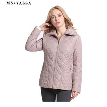 MS VASSA 2019 New Women Plus Size Parkas Spring padded Casual Coats Classic Sandwich Quilted Jacket 7XL Ladies outerwear(China)