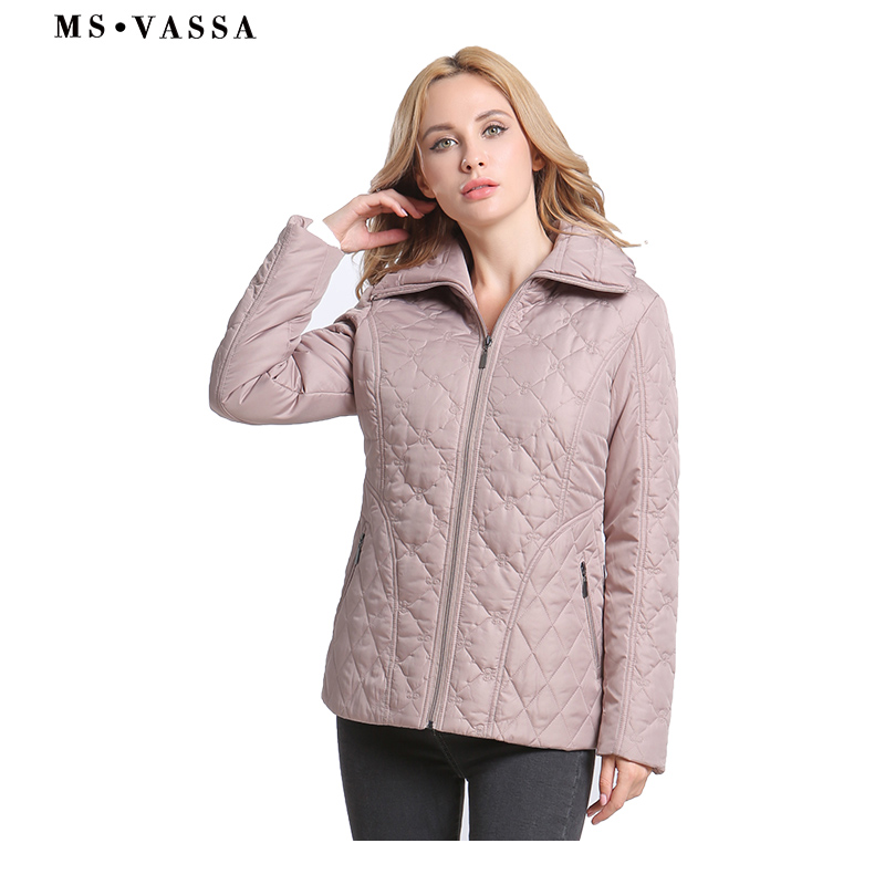 MS VASSA 2019 New Women Plus Size   Parkas   Spring padded Casual Coats Classic Sandwich Quilted Jacket 7XL Ladies outerwear