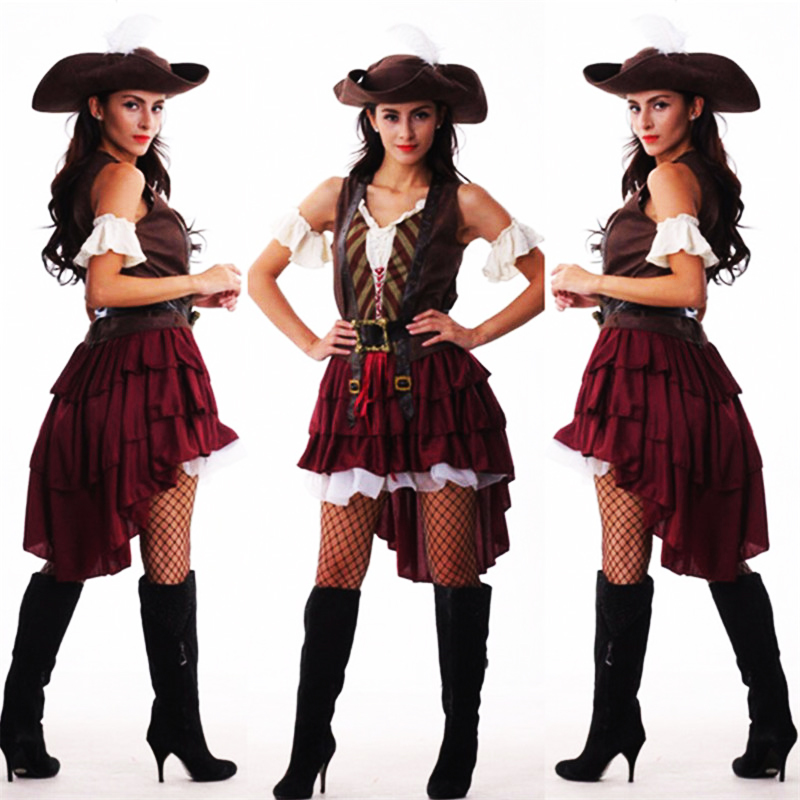 Sexy Women Pirate Costume Woman Plus Size Halloween Fancy Party Dress Carnival Adult Pirate Outfit Masquerade Fancy Dress 8619 Novelty & Special Use Sexy Costumes