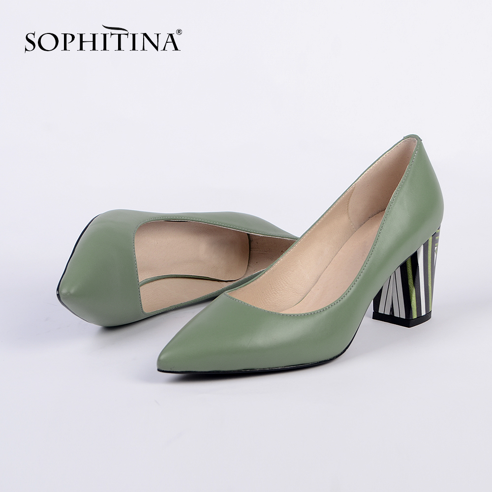 SOPHITINA Elegant Pumps Fashion Flower Square Heels Office Woman Shoes Pointed Toe Slip on Genuine Leather