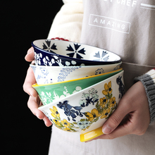 6 inch Ceramic Bowl China Salad Fruit Bowl Dessert Japanese Dishes Rice Noodles Dinnerware sets Kitchen Tools 650ml 5 6 8 inch japanese cherry blossom ceramic ramen bowl large instant noodle rice soup salad bowl container porcelain tableware