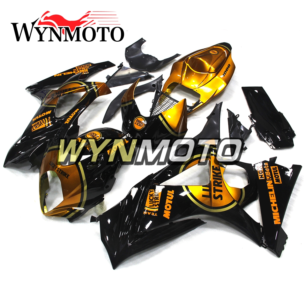 Full Gloss Black Gold New Fairings Kit For <font><b>Suzuki</b></font> <font><b>GSXR1000</b></font> <font><b>K7</b></font> Year 2007 2008 ABS Plastic Injection Motorcycle Body Frames image