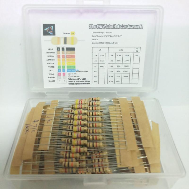 Hot Sale 300pcs 30value Rang 10ohm-1Mohm 1/2W 5% Carbon Film Metal Resistors Assortment Kit Set NEW 30 Values Resistor