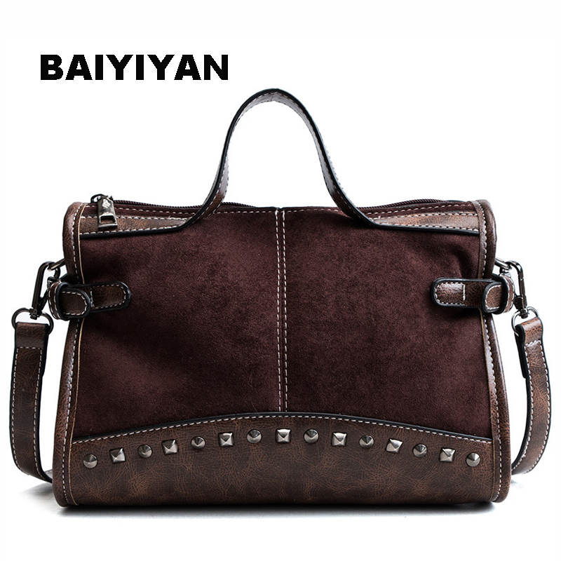 New Arrival Winter Women Rivet Casual Tote Bag Vintage Ladies Shopping Boston Bag Shoulder Bag Large Capacity Leopard Handbag