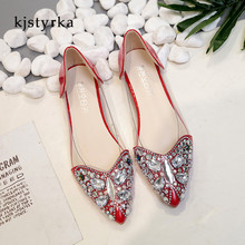 Kjstyrka 2018 Senhoras Da Moda Sapatos de cristal glitter Casual  Confortável de Borracha dedo apontado Mulheres b32395740776