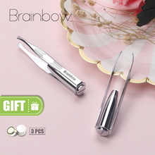 Brainbow 1pc LED Tweezer 3 Batteries Eyelash Eyebrow Eyes Hair Remover Tools Stainless Steel Eyebrow Tweezers