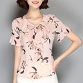 Woman Floral Print Bow Tie Collar Blouse V-Neck Chiffon Top Fashion Ruffles Butterfly Sleeve Shirt Short Sleeve Blouse Plus Size