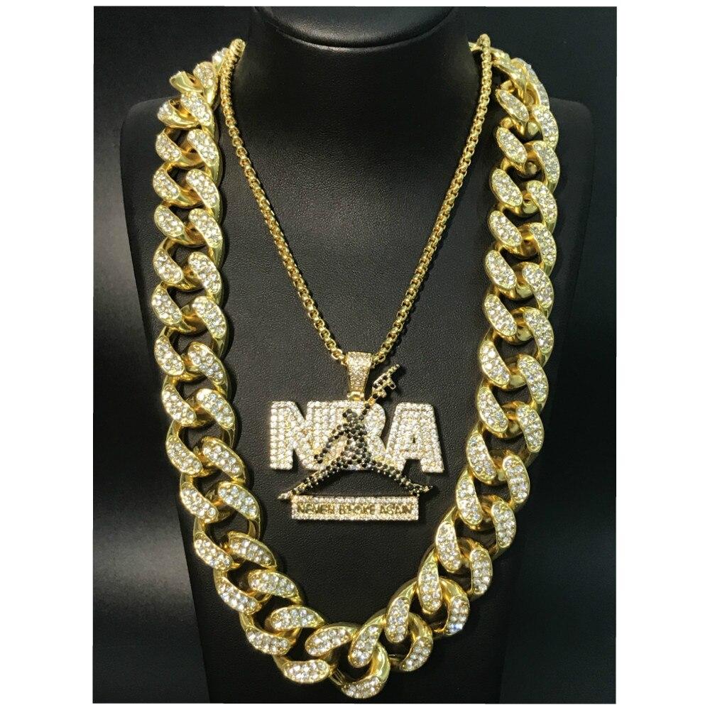Hip Hop Men Necklace Gold Sliver Iced Out Crystal Miami Cuban NBA Rock Pendant Necklace Set 2CM Hip Hop King New 2019