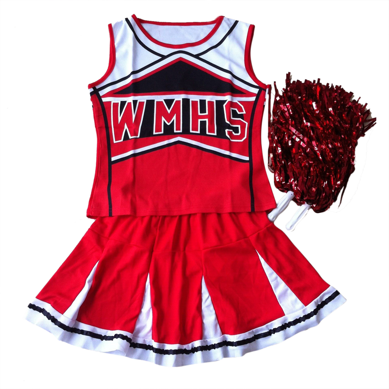 New Tank top Petticoat Pom cheerleader cheer leaders S (30-32) 2 piece suit new red costume