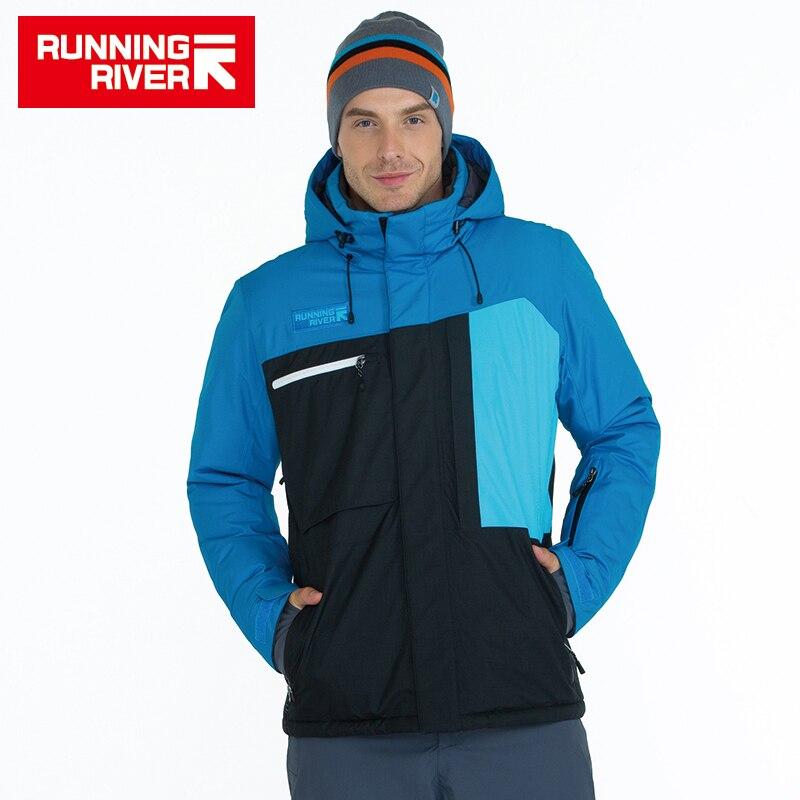 FIUME che scorre di Marca Degli Uomini di Alta Qualità Giacca Da Sci di Inverno Caldo Con Cappuccio Giacche e Giubbotti per lo Sport Per Uomo Professionale Abbigliamento Outdoor # A6047