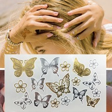 Butterfly Temporary Tattoo Freshwater Flash Analog Sized Disposable TATTOO Stickers GOLD Metallic Silver Butterfly Tatto Art