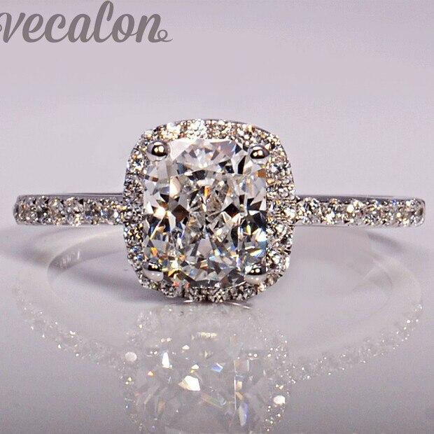 Vecalon fashion Jewellry Design wedding Band ring für frauen kissen cut 3ct 5A Zirkon cz 925 Sterling Silber Weiblichen Fingerring ring