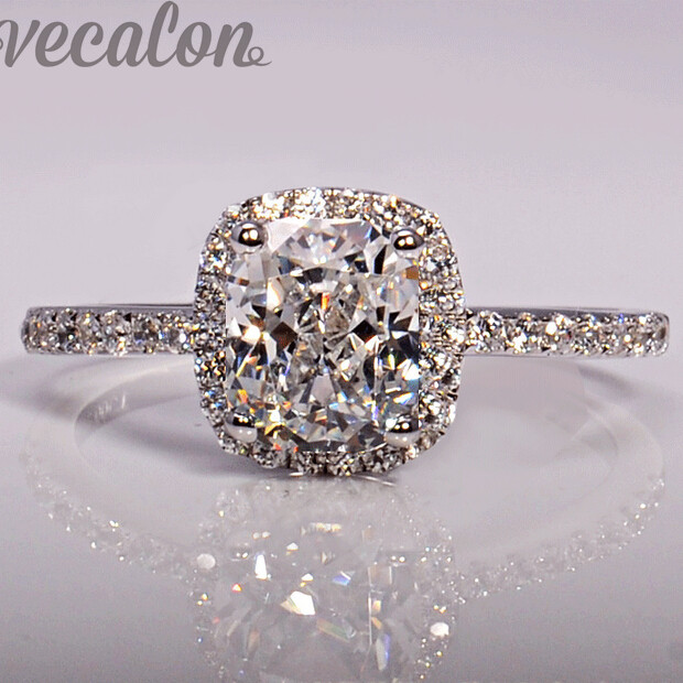 Vecalon fashion Jewellry Design wedding Band ring for women cushion cut 3ct 5A Zircon cz 925 Sterling Silver Female Finger ring ...