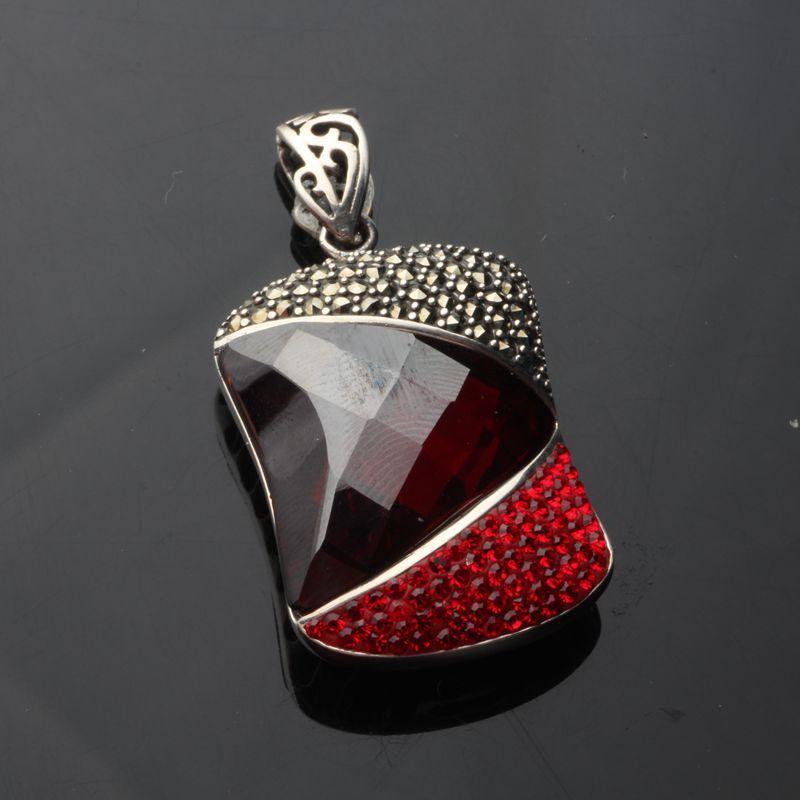 Cluci jaula colgantes collar Thai venta al por mayor joyería de Ley 925 Noble generoso Granada Shi Shiqi Drill Cut colgante de mujer - 5
