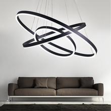 hot deal buy 40cm-100cm rings fashional modern led chandeliers for living dining room diy hanging lighting circle rings for indoor lighting