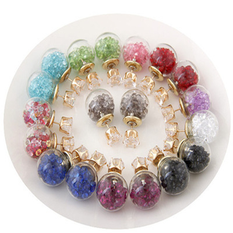 2016 New Double Crystal Earings Brincos Glass Beads Candy Color Earrings For Women Pendientes Trendy Stud Earrings