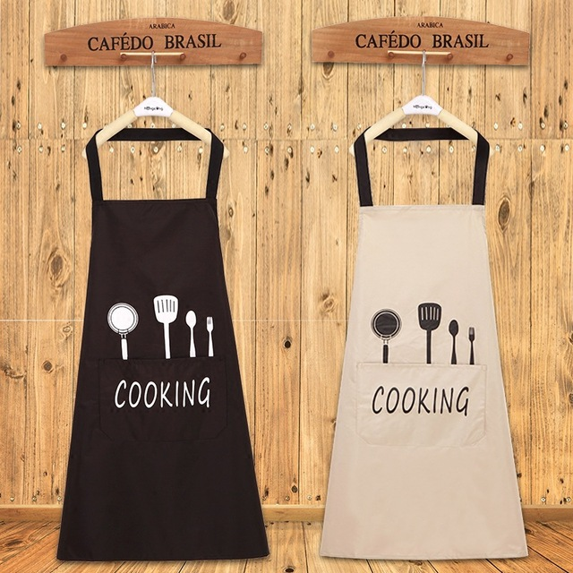 Lady Water Oil Proof Apron Home Kitchen Chef Aprons Restaurant Cooking Baking Dress Fashion Apron With Pockets