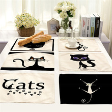 Cute Black Cat Pattern Kitchen Place mat Dining Table Mats Drink Coasters Western Pad Cotton Linen Cup Mat 42*32 cm
