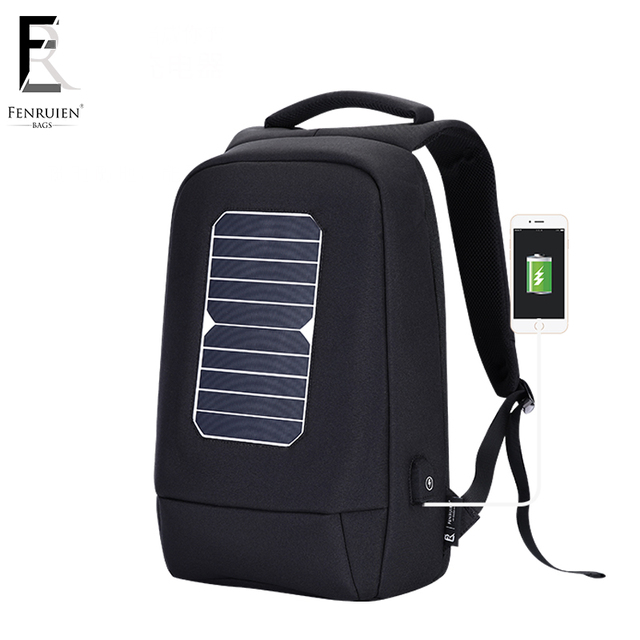 FENRUIEN Casual Solar Powered Backpack for Men Fashion USB Charger Knapsack Anti theft Multifunction Laptop Backpack Women
