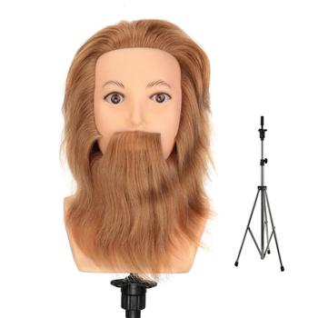 100% Real Hair Male Training Head Mannequin Head For Cutting With Hair Beard + Aluminum Adjustable Tripod