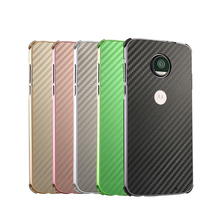 Luxury Metal Case For Motorola Moto E5 Plus E5+ Aluminum Frame & Carbon Fiber Back Cover Shockproof Shell
