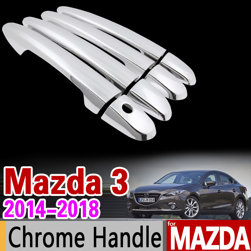 for Mazda 3 Axela 2014 - 2018 BM Luxurious Chrome Door Handle Cover Trim Set 2015 2016 2017 Car Accessories Stickers Car Styling